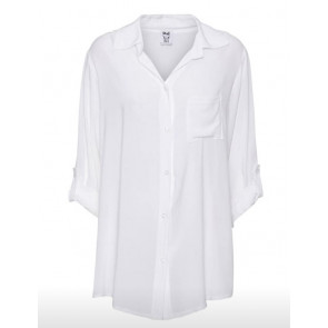 Stajl | Long Shirt i White