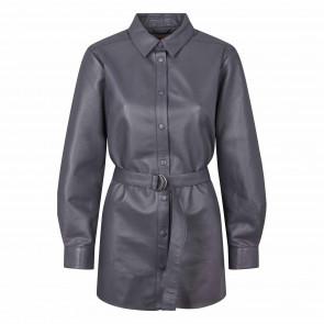 Soft Rebels | Aluna Leather Shirt i Grey