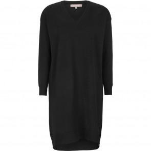 Soft Rebels | Lea V-neck Oversized Knit Dress i Black